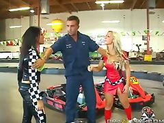 Go cart Racers Charisma Cappelli And Robyn Truelove Fuck Their Mechanic