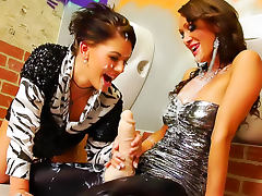 Lesbian strapon sex with hot cumshots