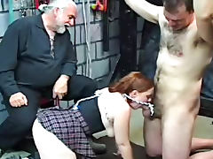 Old geezer dominates a schoolgirl and a chained