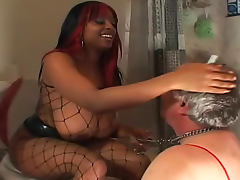 Golden Shower, Black, Facesitting, Femdom, Fishnet, Peeing