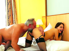 Old and Young, Blowjob, Brunette, HD, Old, Stockings