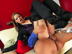 Gorgeous girl in black satin fucked