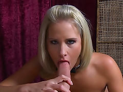 Pretty blonde with pierced tongue sucks dick