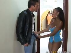 Gorgeous ebony babe Lacey DuValle sucks Tommy Gunn's dick before riding