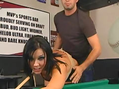 Babe in boots fucked on pool table