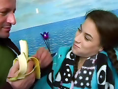 Banana, Banana, Brunette, Cumshot, Doggystyle, Fetish