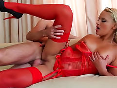Red lipstick and lingerie on fucked blonde