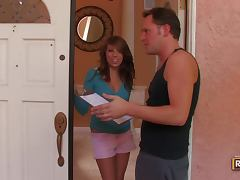 Sexy girl Melissa seduces a repairman and has a fuck with