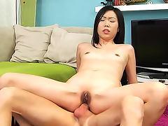 Petite Asian big cock anal