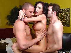 Petite Brunette Pornstar Hillary Scott Double Penetrated In Threesome