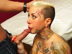 Tattooed face and tits on fuck slut