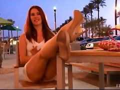 Crazy Redhead Babe Showing Her Snatch To The Public