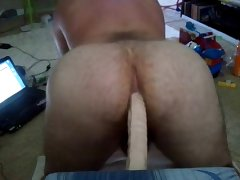 Good view of whiteboy getting 1 foot of dildo in ass