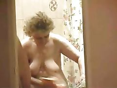 Granny Shows Off Her Big Boobs As She Gets Out Of The Shower