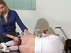 Lesbian boss spanks her new hot assistant