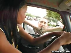 Big tits ebony Alize hottest car sex in history