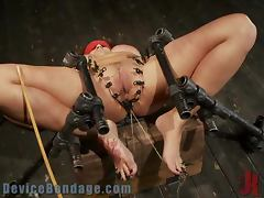 Bounded Babe Immobilized with Devices and Fucked with Sex Toys