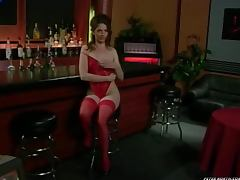 Cloey gets naked in the bar and fucked hard