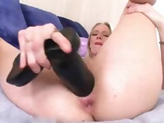 Aaliyah GAPE Huge Toy in both holes A75