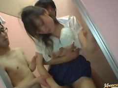 Drunk Japanese girl gets her snatch fucked hard in the toilet