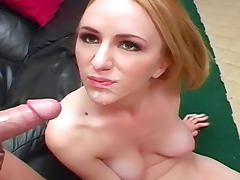 Blonde with great tits laid and facial