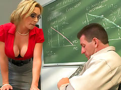 Teacher in a red blouse gets fucked
