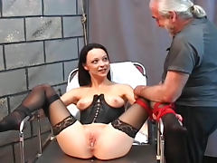 Slim submissive enjoys the tit pain