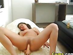 Hardcore pussy and anal dildo penetration