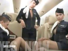 Air hostesses show boobs on an airplane