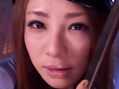 Sexy Japanese Cop Sucks Prisoner's Dick