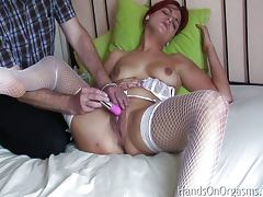 Has a big clitoral orgasm from vibrator