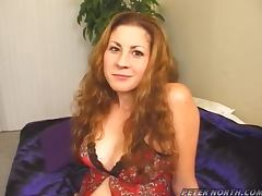 Pretty Lisa Marie fondles her hot tits and sucks big dick