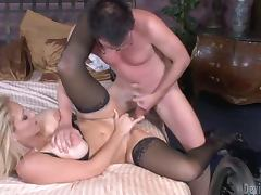 Hot blonde MILF having wild sex with her son in law