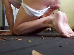 my sissy bf cum on feet in panties