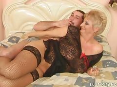 Old and Young, Big Tits, Blonde, Couple, Doggystyle, Lingerie