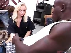Blonde Bimbo Gets A Truck Load Of Black Cock
