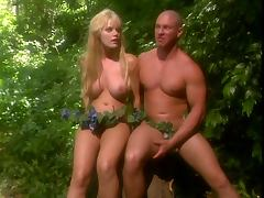 Sexy blonde busty tree nymph has her ass destroyed by big cock in the jungle
