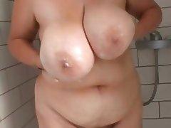 Housewife, Amateur, Bathing, Bathroom, BBW, Big Tits