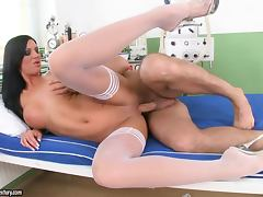 Sexy brunette nurse Cloe gets her pussy licked and fucked