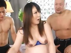 Hot Pregnant Japanese Milf Gets Fucked and Creampie From 2 Dudes