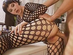 Bodystocking, Bodystocking, Kitchen, Lingerie, Nipples, Stockings