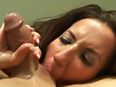 Bus, Blowjob, Brunette, Bus, Facial, MILF
