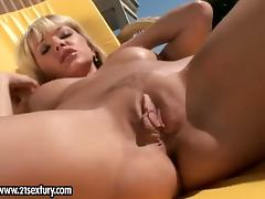 Sweet Natalli DiAngelo masturbates on hot and sunny day