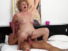 Effie sucks a hard cock and gets her snatch fucked and creampied