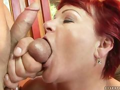 Redhead granny Eszmeralda gets her meaty pussy licked and pounded