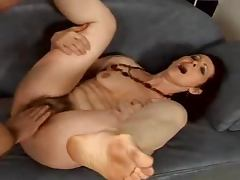 Passionate mature brunette with bushy pussy gets toyed and fucked