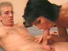 Amateur milf sucks and fucks a pierced cock
