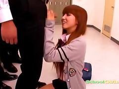 Schoolgirl Giving Blowjobs One Her Knees For 3 Schoolguys Facials At The Corridor In The School