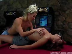 Daisy Chain and Veronica have some lesbian fun on the pool table