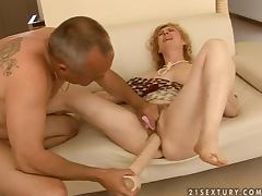 Blonde mature slut Maria gets her pussy toyed fisted and fucked